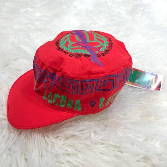 150a66c4fda Vintage Laguna Beach Cap Retro 90 s Neon Hat Red